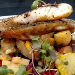 Pan Seared Sea Bass at AQUA Restaurant