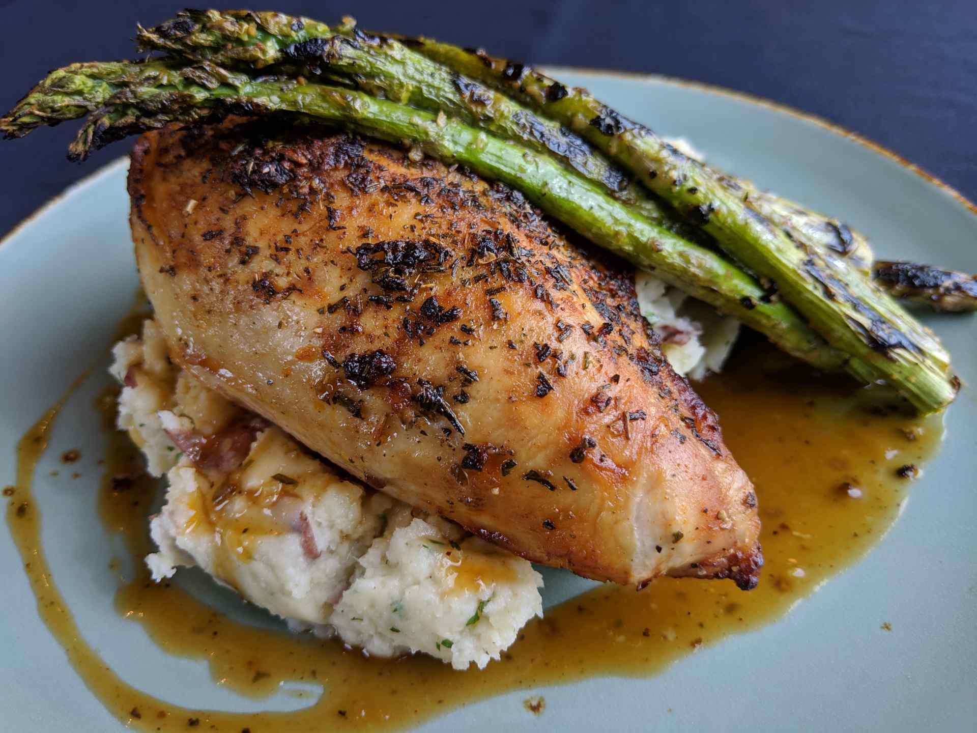 Roasted Natural Chicken Breast Fall 2018 AQUA Restaurant Duck NC