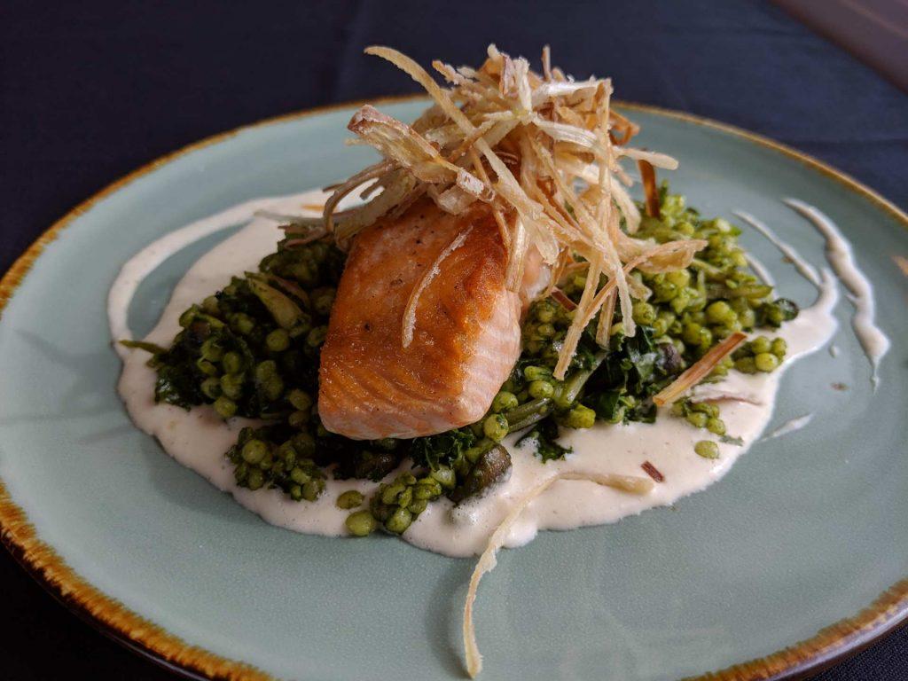 Seared Scottish Salmon Fall 2018 Menu AQUA Restaurant Duck NC