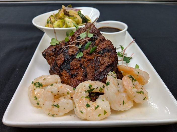 Flat iron steak with shrimp