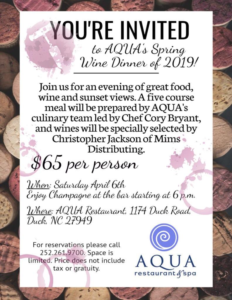 AQUA Restaurant Spring 2019 Wine Dinner